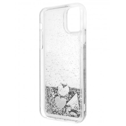 Guess Liquid Glitter Hearts Hard for iPhone 11 Silver